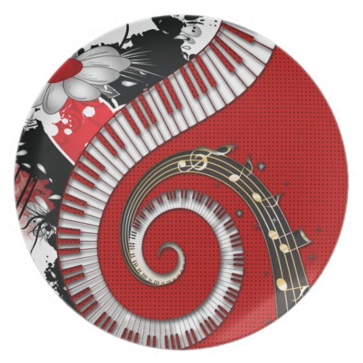 Piano Keys Music Notes Grunge Floral Swirls Plate