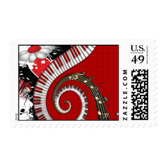 Piano Keys Music Notes Grunge Floral Swirls Postage