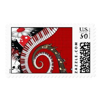 Piano Keys Music Notes Grunge Floral Swirls Postage