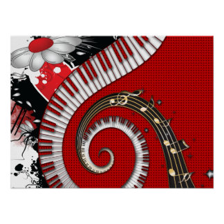 Piano Keys Music Notes Grunge Floral Swirls Poster