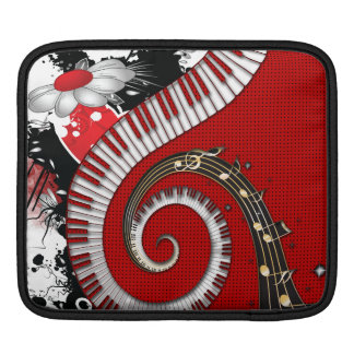 Piano Keys Music Notes Grunge Floral Swirls Sleeve For iPads