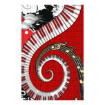 Piano Keys Music Notes Grunge Floral Swirls Stationery Design