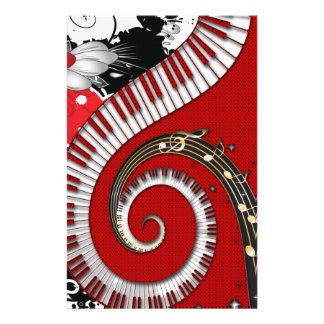 Piano Keys Music Notes Grunge Floral Swirls Stationery Design