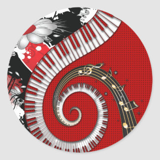 Piano Keys Music Notes Grunge Floral Swirls Round Stickers