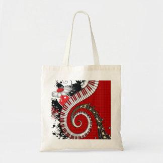 Piano Keys Music Notes Grunge Floral Swirls Tote Bag