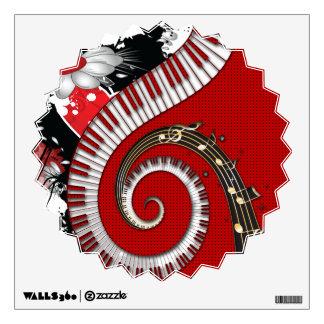 Piano Keys Music Notes Grunge Floral Swirls Wall Sticker
