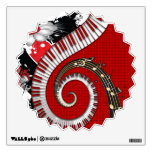 Piano Keys Music Notes Grunge Floral Swirls Wall Sticker