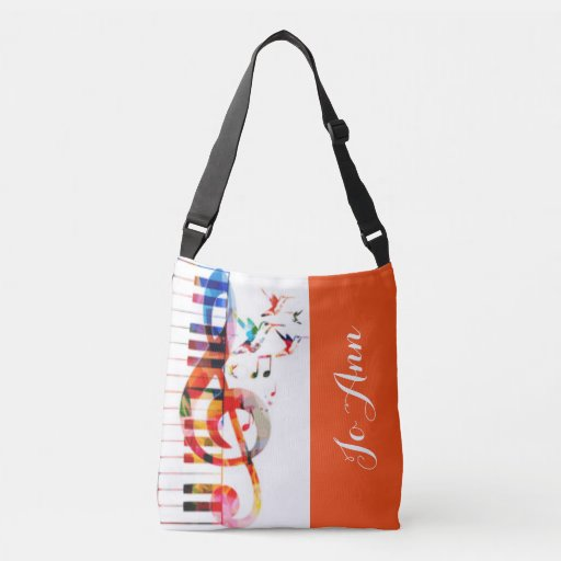 Piano Keys and Music Notes with Hummingbirds Cross Body Bag
