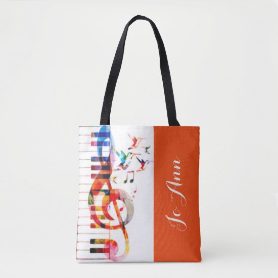 Piano Keys Music Notes & Hummingbirds Tote Bag