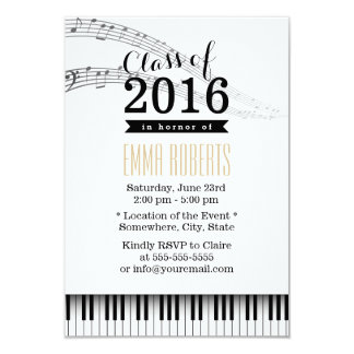 Piano Keys & Music Notes Musical Graduation Party 3.5x5 Paper Invitation Card