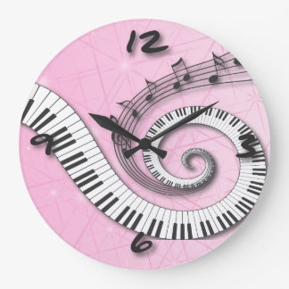 Piano Keys Music Notes on pink Wall Clock