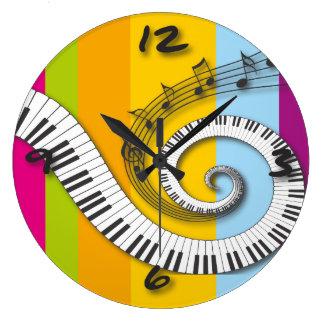 Piano Keys Music Notes on Rainbow Wall Clock