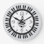 Piano Keys Musical Notes Wall Clock at Zazzle