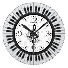 Piano Keys Musical Notes Wall Clock at Zazzle