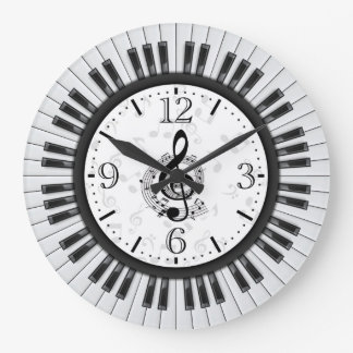 Piano Keys Musical Notes Wall Clock