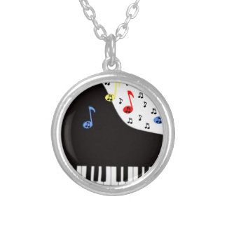Piano Keys & Notes Round Pendant Necklace