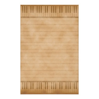 Piano Keys Old Parchemnt Paper Colored Lined Custom Stationery