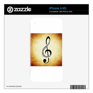 Piano Keys on a Music Clef Skins For The iPhone 4