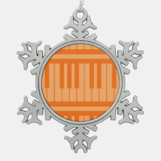 Piano Keys Orange Pattern Ornament