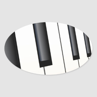 Piano Keys Perspective Oval Sticker