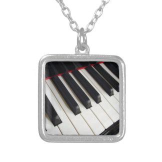Piano Keys Photograph Square Pendant Necklace