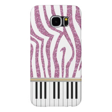 Piano Keys Pink Glitter Zebra Print Samsung Galaxy S6 Cases