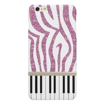 Piano Keys Pink Glitter Zebra Print Glossy iPhone 6 Plus Case