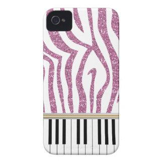 Piano Keys Pink Glitter Zebra Print iPhone 4 Case