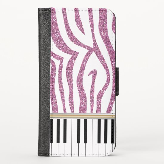 Piano Keys Pink Glitter Zebra Print iPhone XS Wallet Case