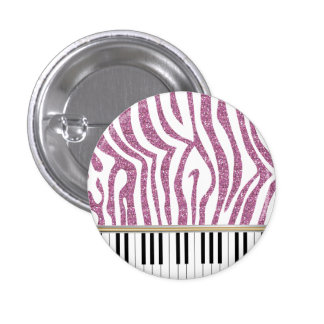 Piano Keys Pink Glitter Zebra Print Pinback Button