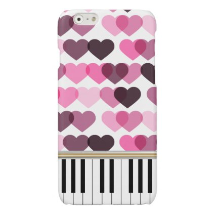 Piano Keys Pink Love Hearts Pattern Glossy iPhone 6 Case