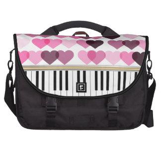 Piano Keys Pink Love Hearts Pattern Laptop Computer Bag