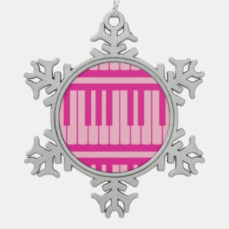 Piano Keys Pink Magenta Pattern Ornaments