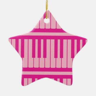 Piano Keys Pink Magenta Pattern Christmas Ornament