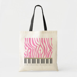Piano Keys Pink Zebra Print Tote Bags