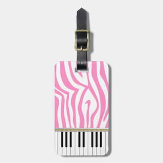 Piano Keys Pink Zebra Print Tags For Bags