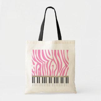 Piano Keys Pink Zebra Print Tote Bag