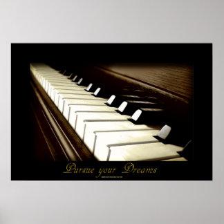 """PIANO KEYS """"Pursue your Dreams"""" Art Poster"""