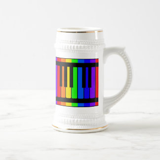 Piano Keys Rainbow And Black Pattern Beer Stein