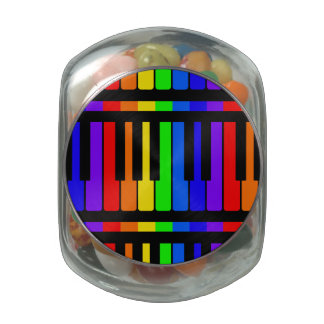 Piano Keys Rainbow And Black Pattern Jelly Belly Candy Jar
