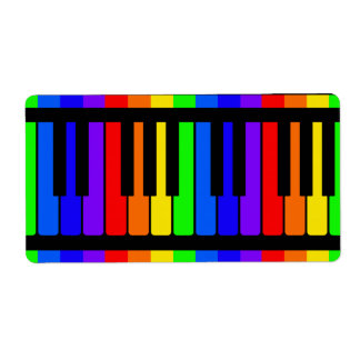 Piano Keys Rainbow And Black Pattern Label