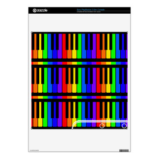 Piano Keys Rainbow And Black Pattern Skins For The PS3 Slim