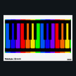 """Piano Keys Rainbow And Black Pattern Wall Decal<br><div class=""""desc"""">Piano keys or musical keyboard instrument pattern in black and colorful rainbow. Includes red,  orange,  yellow,  green,  blue,  indigo,  and violet. The lighter colored natural keys alternate with the darker colored sharp and flat keys. Great design for a musician,  pianist,  music teacher,  or music lover.</div>"""