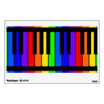 Piano Keys Rainbow And Black Pattern Wall Decal