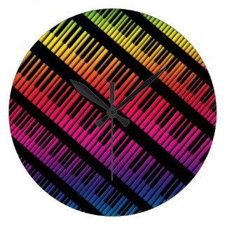 Piano Keys Rainbow Of Color Large Clock