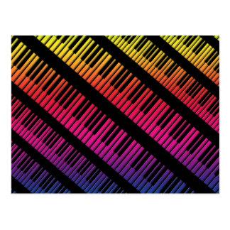 Piano Keys Rainbow Of Color Postcard