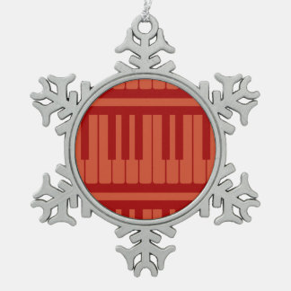 Piano Keys Red Pattern Ornaments