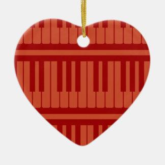 Piano Keys Red Pattern Christmas Ornament