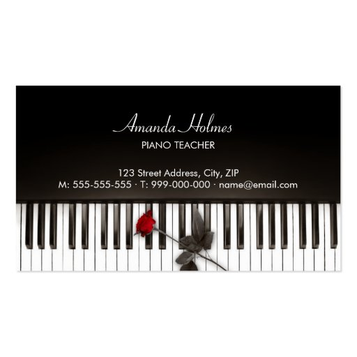 Piano Keys Red Rose Music business card