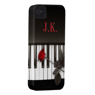 Piano Keys Red Rose Music Monogram iPhone4 case iPhone 4 Cases
